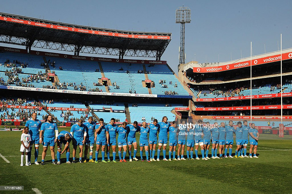 Italy team sings their anthem during the Castle Larger Incoming Tour match between Italy and Scotland at Loftus Versfeld on June 22, 2013 in Pretoria, South Africa.