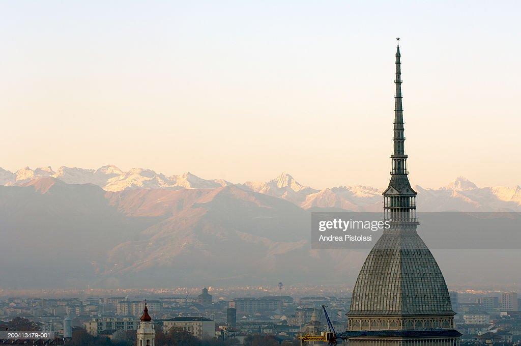 Italy, Torino Province, Turin, La Mole Antonelliana cityscape, sunset