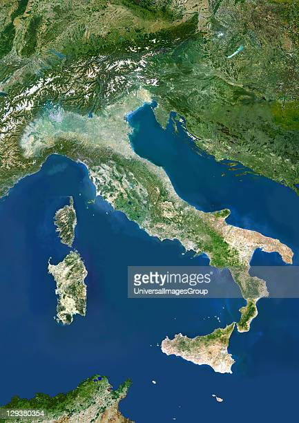 Italy true colour satellite image Italy comprises the large peninsula at centre and the large islands of Sicily and Sardinia It also encompasses...