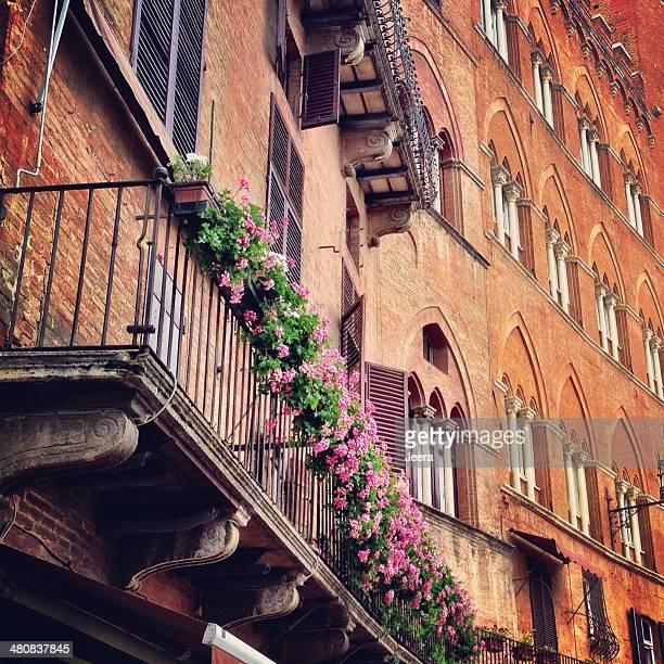 Italia, Toscana, balcone con fiori in Toscana