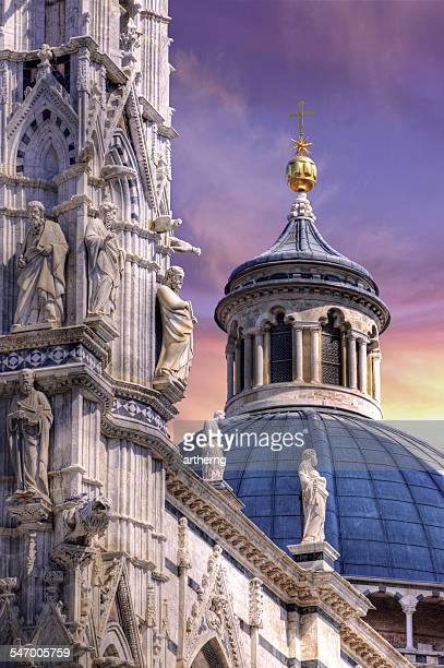 Italy, Tuscany, Dome and Facade Sculpture of Siena Cathedral