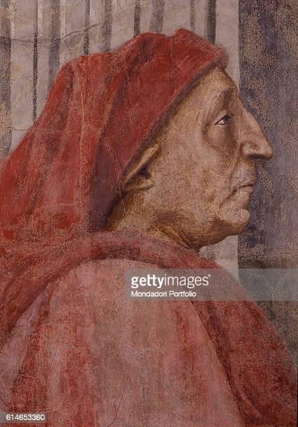 Italy Tuscany Florence Basilica di Santa Maria NovellaProfile portrait of Berto di Bartolomeo work's patron