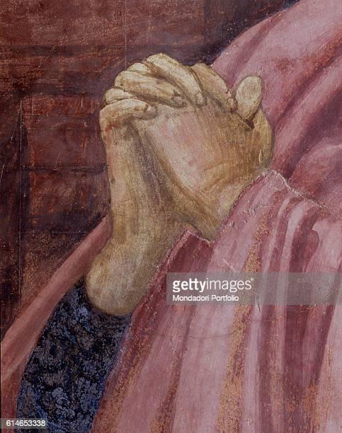 Italy Tuscany Florence Basilica di Santa Maria NovellaSaint John The Evangelist's hands joined in prayer