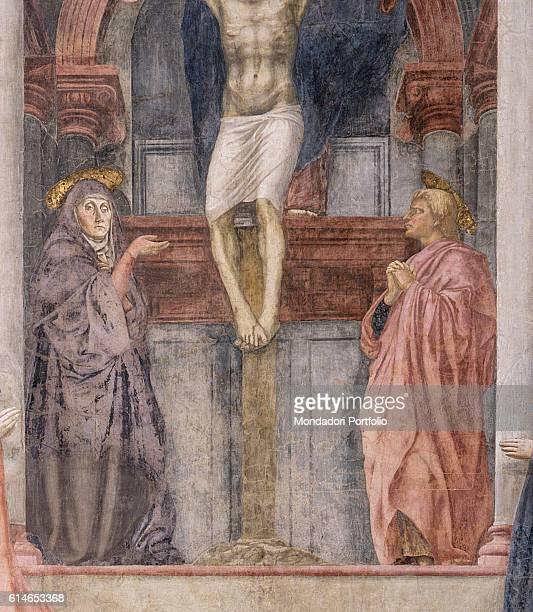 Italy Tuscany Florence Basilica di Santa Maria NovellaVirgin Mary and Saint John the Evangelist at the foot of Christ Mary is poiting at him while...