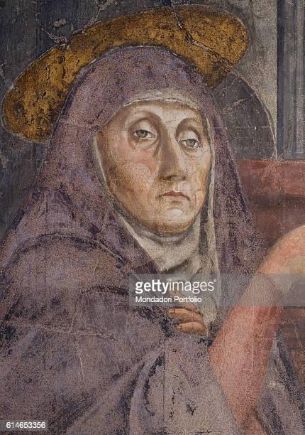 Italy Tuscany Florence Basilica di Santa Maria NovellaVirgin Mary pointing at Christ crucifix with a severe look