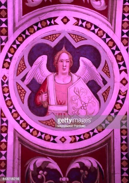 Italy Tuscany Florence Cappella Bardi di Vernio Basilica di Santa Croce Detail Angel in a medal