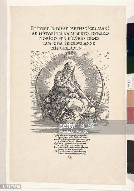 Italy Tuscany Florence Gabinetto Disegni e Stampe degli Uffizi Whole artwork view Virgin Mary holding the Child Jesus and sitting on a sickle moon...