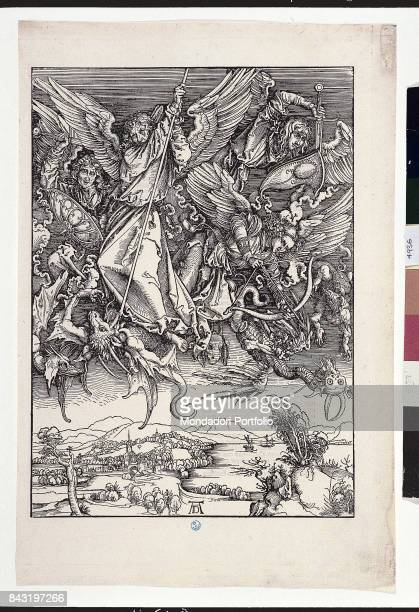 Italy Tuscany Florence Gabinetto Disegni e Stampe degli Uffizi Whole artwork view Saint Michael killing the dragon surrounded by his rank of angels