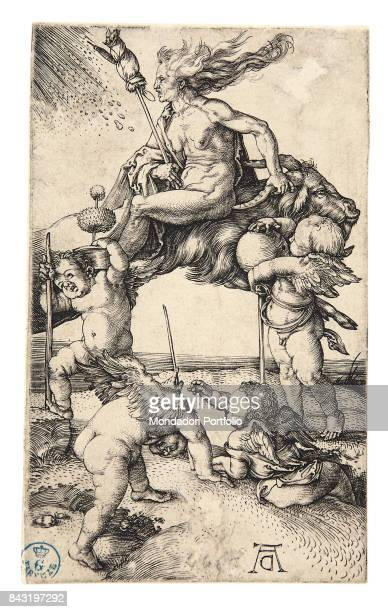 Italy Tuscany Florence Gabinetto Disegni e Stampe degli Uffizi Whole artwork view A witch riding a billy goat and evoking a tempest Putti on the...