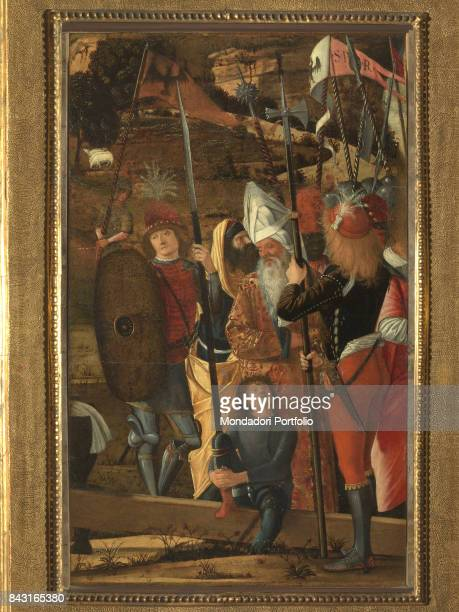 Italy Tuscany Florence Galleria degli Uffizi Whole artwork view Some halberdiers surrounding two old men in rich clothes in a pastoral landscape A...