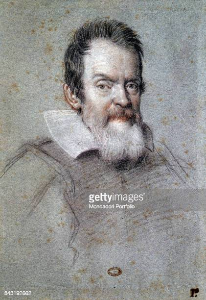Italy Tuscany Florence Marucelliana Library Whole artwork view Portrait of Italian physician and astronomer Galileo Galilei