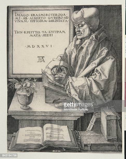 Italy Tuscany Florence Prints and Drawings Department of the Uffizi Whole artwork view Erasmus von Rotterdam resting on a bookstand and writing among...