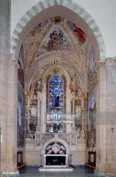 Italy Tuscany Florence Santa Maria Novella Basilica Strozzi Chapel Whole artwork view Stories of St John Evangelist and St Philip