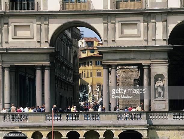 Italy, Tuscany, Florence, Uffizi Museum with Piazza della Signoria