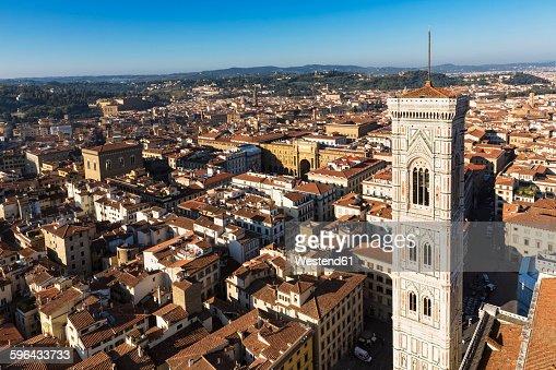 Italy, Tuscany, Florence, View of Piazza della Repubblica with Arcone, Campanile di Giotto