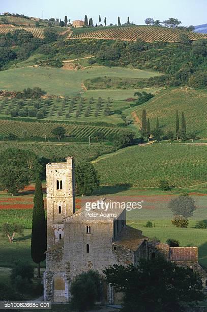 Italy, Tuscany, Montalcino, church in rural landscape