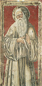 Italy Tuscany Monte Oliveto Maggiore Abbazia All A Benedictine Saint with a white beard wearing the habit with the head encircled by a halo Detail of...