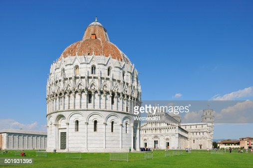 Italy, Tuscany, Pisa, view to cathedral Baptistery and Leaning Tower of Pisa at Cathedral Square