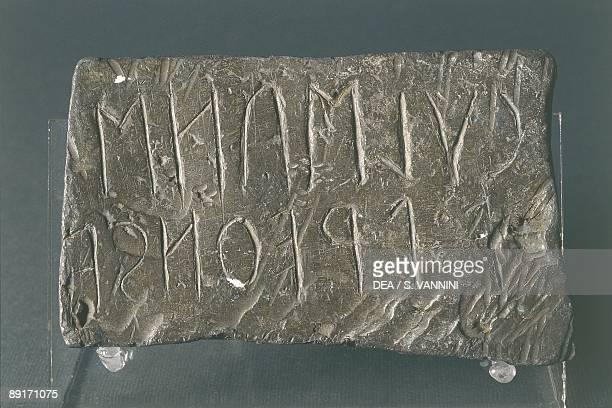 Italy Tuscany region Cortona Etruscan academy Leaden leaf with an Etruscan inscription