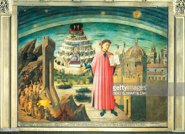 Italy Tuscany Region Florence Cathedral Domenico di Michelino Portrait of Dante Alighieri Florence and the allegory of the Divine Comedy 1465...