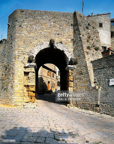 Italy Tuscany Region Pisa Province Volterra The Arch Gate or Etruscan Arch with piers and heads of Etruscan deities 4th3rd century bC subsequently...