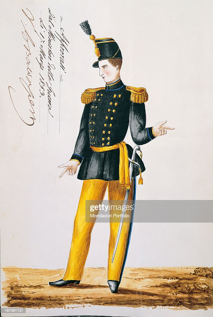 Italy Tuscany Siena Archivio Storico del Comune A man in military uniform with yellow finishes black jacket and yellow trousers has a sword in the...
