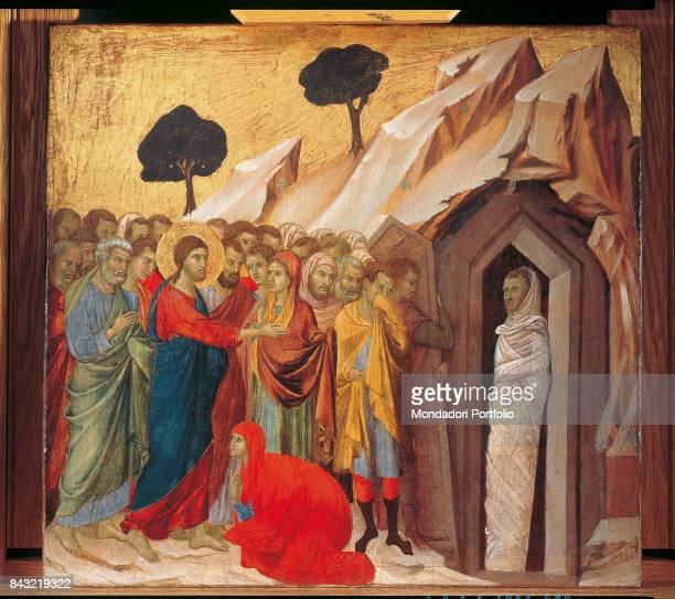 Italy Tuscany Siena Museo dell'Opera del Duomo Detail Reverse of the Maestà  Episodes from Christ's Passion The Raising of Lazarus Jesus giving a...