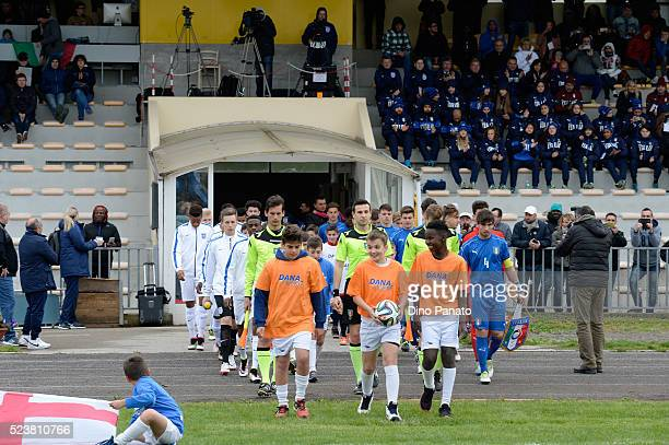 Italy U15 and England U15 players enter on the picth before the U15 International Tournament match between Italy and England at Stadio Colussi on...