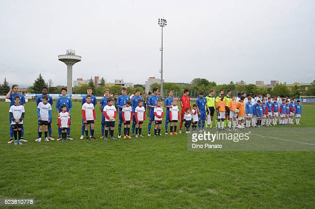 Italy U15 and England U15 players poses before the U15 International Tournament match between Italy and England at Stadio Colussi on April 24 2016 in...