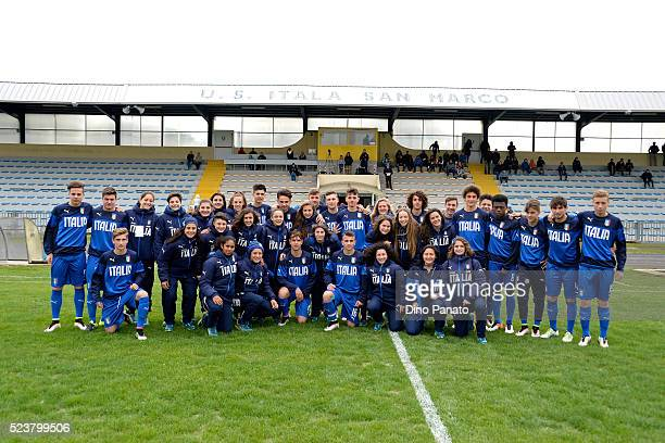 Italy U15 and Italy women U16 players pose for a photo during the U15 International Tournament match between Italy and England at Stadio Colussi on...