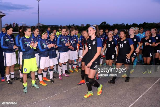 Italy U16 celebrate USA U16 players during the 2nd Female Tournament 'Delle Nazioni' final match between Italy U16 and USA U16 on April 29 2017 in...
