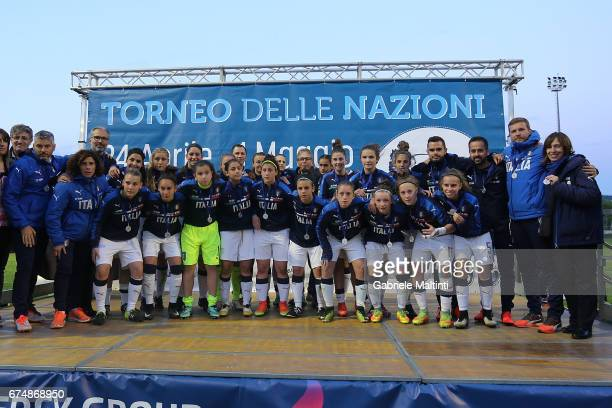Italy U16 pose during the 2nd Female Tournament 'Delle Nazioni' final match between Italy U16 and USA U16 on April 29 2017 in Gradisca d'Isonzo Italy