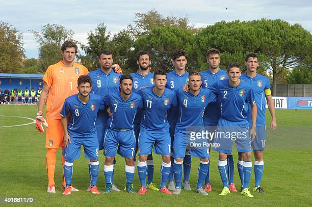 Italy U20 players poses before the match between the Italy U20 v Poland U20 the 4 Nations Tournament at Stadio Giovanni Chiggiato on October 7 2015...