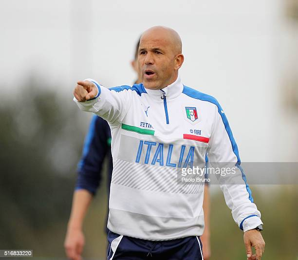 Italy U21 head coach Luigi Di Biagio gestures during the Italy U21 training session on March 21 2016 in Rome Italy