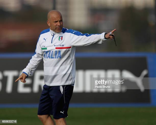 Italy U21 head coach Luigi Di Biagio gestures during the Italy U21 training session on March 20 2017 in Rome Italy