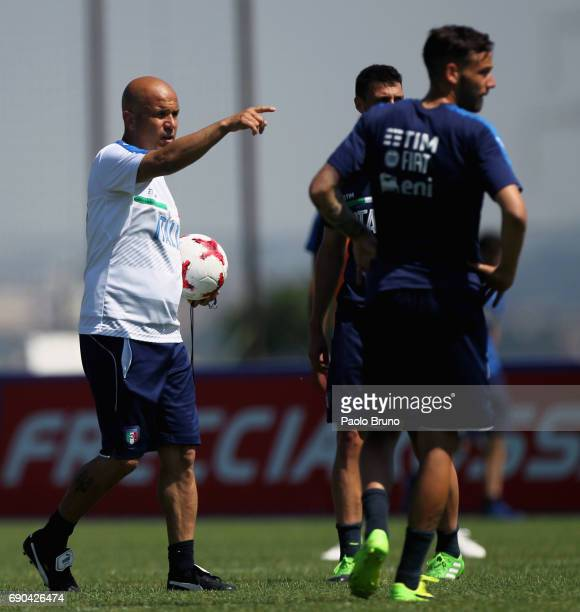Italy U21 head coach Luigi Di Biagio gestures during the Italy U21 training session at Mancini sport center on May 31 2017 in Rome Italy