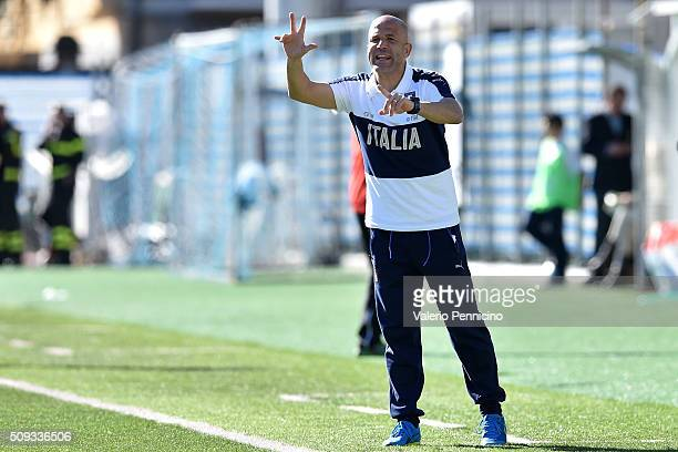 Italy U21 head coach Luigi Di Biagio issues instructions during the friendly match between Italy U21 and Italy B on February 10 2016 in Chiavari Italy