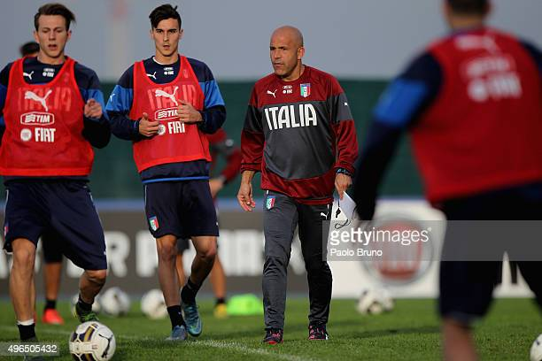 Italy U21 head coach Luigi Di Biagio looks on during the Italy U21 training session at the Mancini sports center on November 10 2015 in Rome Italy