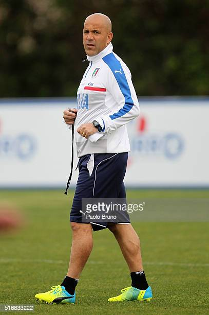 Italy U21 head coach Luigi Di Biagio looks on during the Italy U21 training session on March 21 2016 in Rome Italy