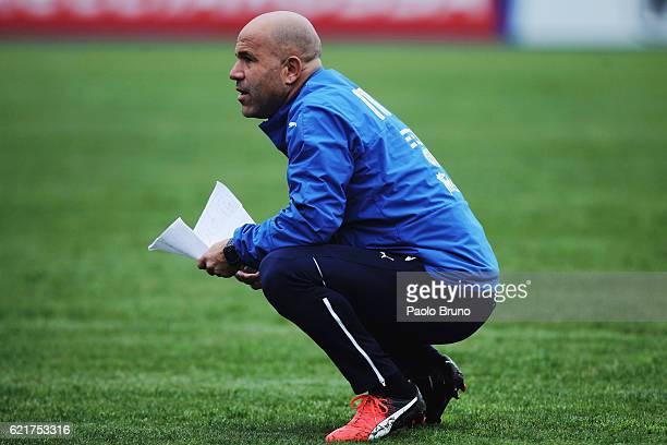 Italy U21 head coach Luigi Di Biagio looks on during the Italy U21 training session on November 8 2016 in Rome Italy
