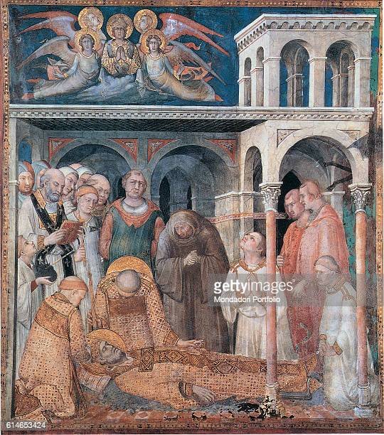 Italy Umbria Assisi Papal Basilica of St Francis of Assisi Lower Basilica Whole artwork view Deth of Saint Martin bishop wearing miter and gloves The...