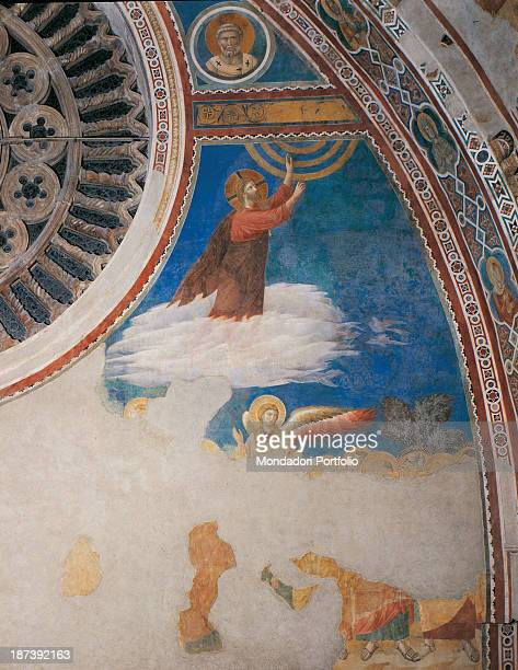 Italy Umbria Assisi Papal Basilica of St Francis of Assisi Upper Basilica Detail Ascension of Christ and part of the rose window