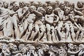 Italy, Umbria, Orvieto, stone carving on the Duomo, close-up