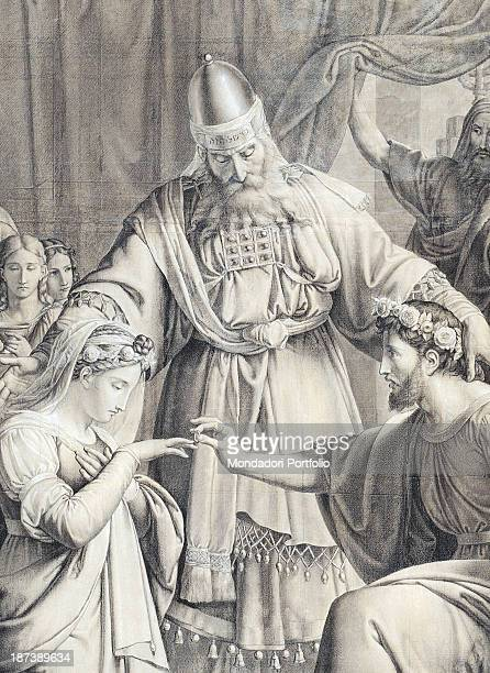 Italy Umbria Perugia Accademia di Belle Arti Detail During the rite Joseph slips the ring on to Mary's finger in front of a priest wearing a cape and...