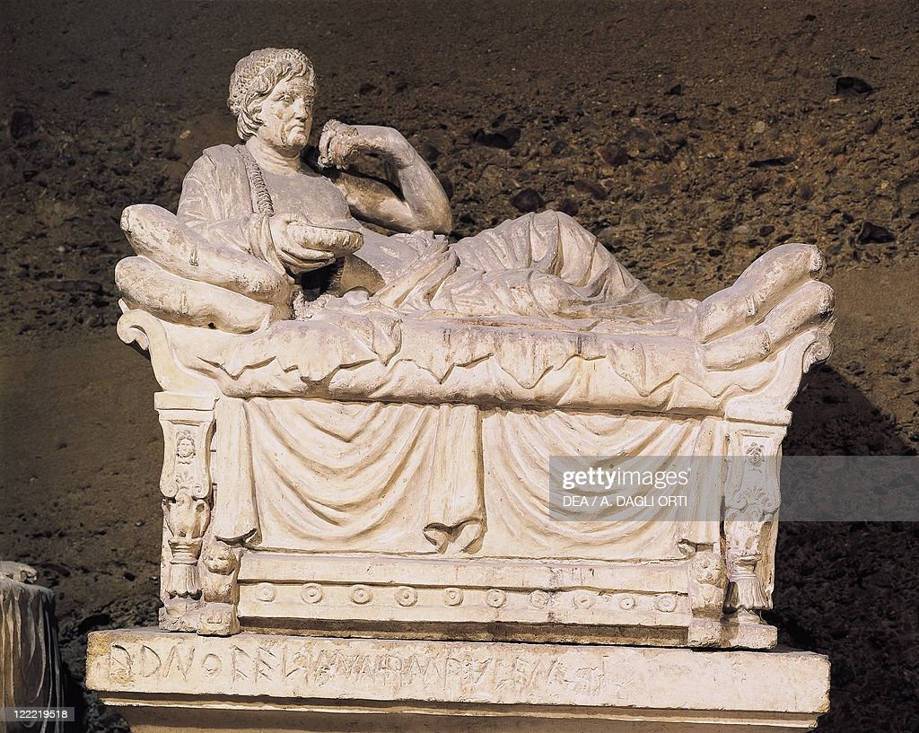 Italy - Umbria Region - Near Perugia, Hypogeum of the Volumni, Etruscan tomb from the second half of the 2nd century b.C. It contained the tomb of Arunte Volumnio's family. Arunte urn.