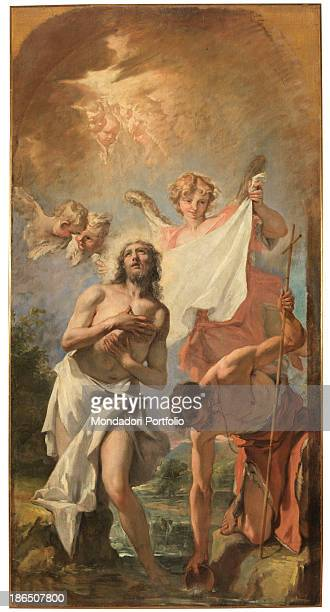 Italy Veneto Belluno Feltre Diocesan Museum Whole artwork view St John the Baptist baptizing Jesus Christ with the help of an angel in the Jordan...