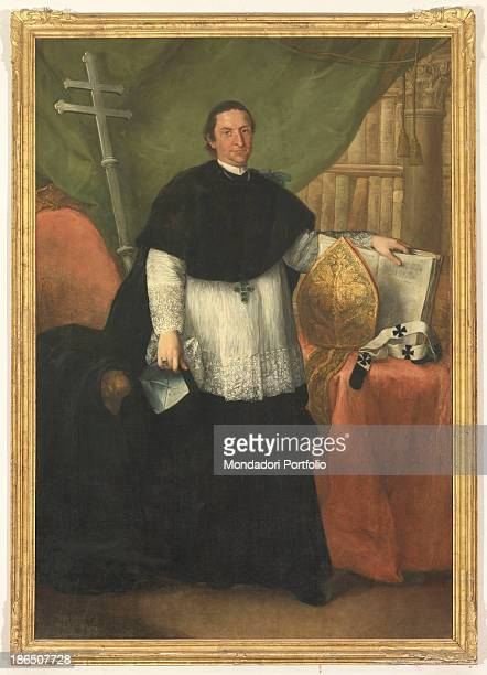 Italy Veneto Belluno Feltre seminar Whole artwork view The Bishop standing in a room in front of a bookcase The figure is surrounded by symbolic...