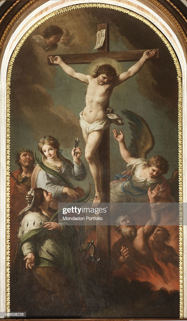 Italy, Veneto, Belluno, Irrighe d'Alpago, fractional chierch, Whole artwork view, In the middle of the scene Christ on the cross, on the left St, Oswald with the bird with the ring in its beak, St, Apollonia with the tongs with the tooth and below St, Catherine of Alexandria with the wheel; on the right the souls in purgatory.