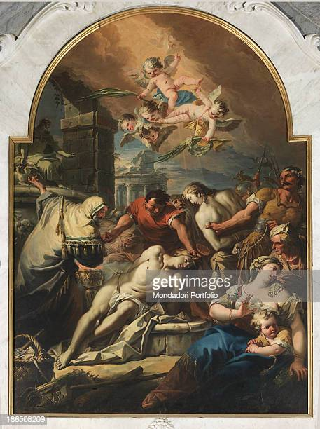 Italy Veneto Chioggia cathedral Saints Felix and Fortunatus' chapel Whole artwork view At the center of the canvas the Saint's body is slumped and...