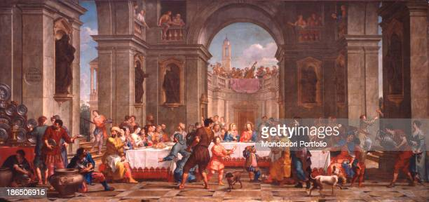 Italy Veneto Murano Church of Saint Peter Martyr Whole artwork view Jesus sitting at the table on a majestic perspective architectural background...